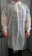 Одноразовый халат для посетителя на кнопках р.XXL (спанбонд 30г/м2) белый/ голубой