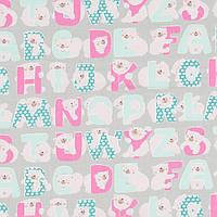 Хлопковая ткань Алфавит розовая