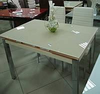 Стол стеклянный раскладной обеденный ТВ17 бежевый, 110/170*75*75 см