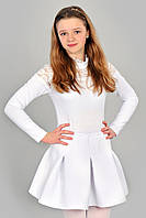 Короткая расклешонная юбка из неопрена / Біла шкільна юбка з неопрену