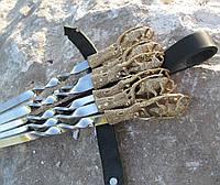 Подарочный набор шампуров Дикий Кабан в кожаном колчане ручная работа 6шт