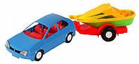 Игрушечная машинка авто-купе с прицепом, синяя, Wader (39002-1)