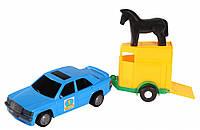 Игрушечная машинка, авто-мерс синий с прицепом и лошадкой, Wader (39003-1)
