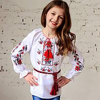 """Красивая вышиванка для девочки на домотканном полотне """"Колоритні Маки"""" 110-170 см, фото 1"""