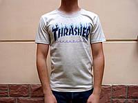 Футболка серая Thrasher logo | Оригинальная бирка