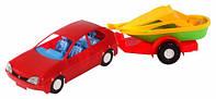 Игрушечная машинка авто купе с прицепом красная Wader (39002-2)