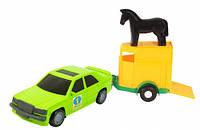 Игрушечная машинка авто мерс зеленый с прицепом и лошадкой Wader (39003-4)