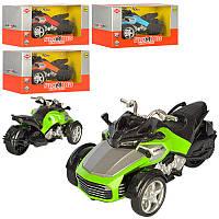 Машинка 998-11A трицикл, 4 кольори, муз , світло, бат , кор , 17-8-9 см (BOC105379)