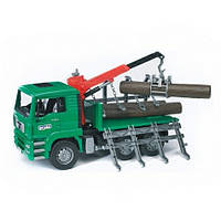 Игрушка - грузовик MAN перевозчик брёвен с краном-погрузчиком М1:16 BRUDER (02769)