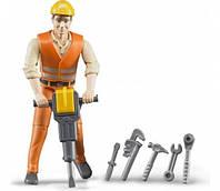 Игрушка - фигурка человека строителя 11см + аксессуары BRUDER (60020)