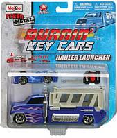 Набор игровой - трейлер + авто Burnin Key Car Launcher Hauler ассорт 4 вида блистер MAISTO (15102)