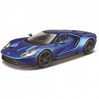 Автомодель - FORD GT (голубой металлик, серебристый металлик, 1:32) Bburago (18-43043)