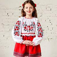 """Вышиванка для девочки """"Розы в саду"""" на рост 98 см - 170 см"""
