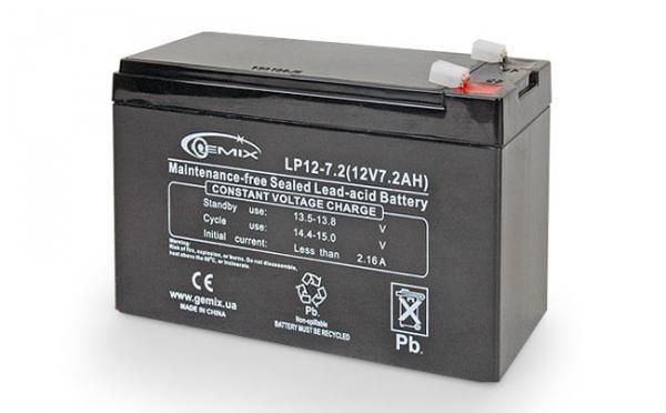 Акумулятор для ДБЖ 12В 7,5 Ач Gemix / LP12-7.5 / ШхДхВ 150x64x94
