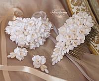 """Свадебный комплект украшений для невесты """"Воздушный айвори"""" (браслет+серьги+гребень))"""