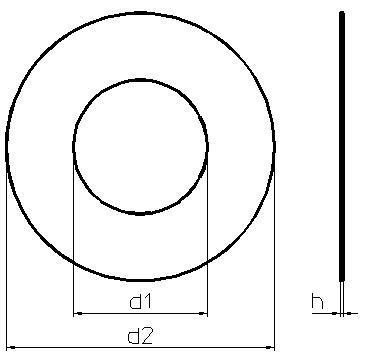 Схема габаритных размеров шайбы DIN 988