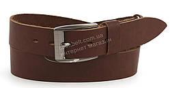 Качественный кожаный мужской ремень высокого качества коричневого цвета MASCO 4 см Украина (100719)