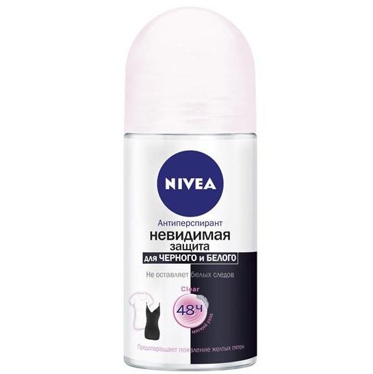 Антиперспирант Nivea Invisible Clear Невидимая защита для черного и белого, 50мл