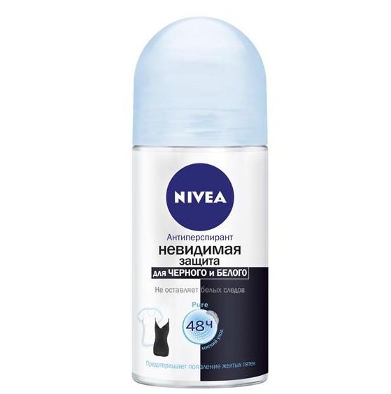 Антиперспирант Nivea Invisible Pure  Невидимая защита для черного и белого, 50мл