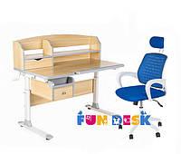 Парта для школьника для дома FunDesk Sognare Grey + Детское кресло LST5 Blue