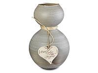 """Итальянская стеклянная ваза FRANCO """"Серая с сердцем"""" 316-784"""