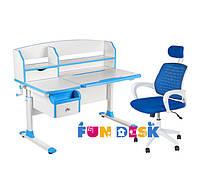 Парта для школьника для дома FunDesk Sognare Blue + Детское кресло LST5 Blue