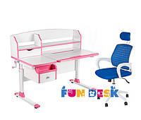 Парта с регулировкой FunDesk Sognare Pink + Детское кресло LST5 Blue