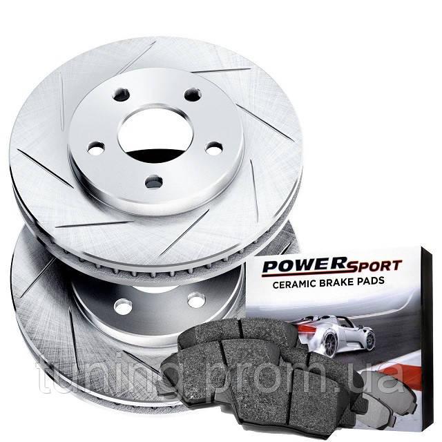 Комплект задних дисков и колодок Power Sport серебро для Nissan Leaf 2011-2017