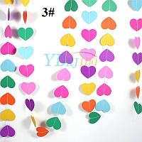 Гирлянда со сердечками для праздника 4 метра, микс 3