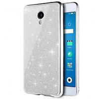 Чехол накладка силиконовый Remax Glitter Air для iPhone 4 серебристый