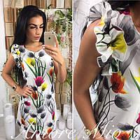 Платье женское цветное с рюшиками