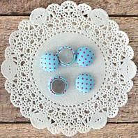 Фишки тканевые голубые в горошек 1,3 см 5шт