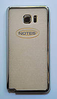 Чехол на Самсунг Galaxy Note 5 N920 тонкий Силикон прозрачный Серебро , фото 1