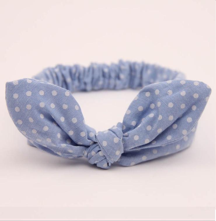 Детская стильная повязка на голову в горошек для девочки