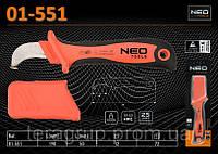 Нож монтерский диэлектрический с чехлом 1000V, L-190мм, L1 - 50мм (спецформа лезвия), NEO 01-551, фото 1