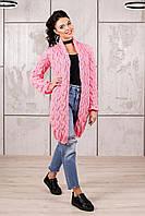"""Кардиган """"Косы"""" модный с косами вязанный женский розовый ажурный, 42, 44, 46, 48, 50 размера"""