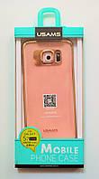 Чехол на Самсунг Galaxy S7 edge G935F USAMS CLEAR Прозрачный Силикон Золото, фото 1