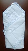 Конверт одеяло на выписку из роддома Весна-Лето-Осень Голубой
