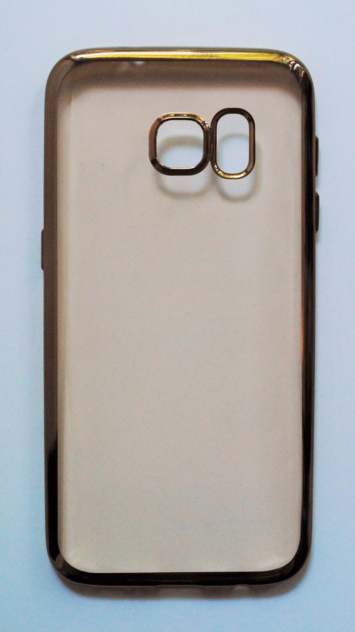 Чехол на Самсунг Galaxy S7 G930F тонкий Силикон Прозрачный Золото