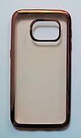 Чехол на Самсунг Galaxy S7 G930F тонкий Силикон Прозрачный Розовое Золото, фото 1