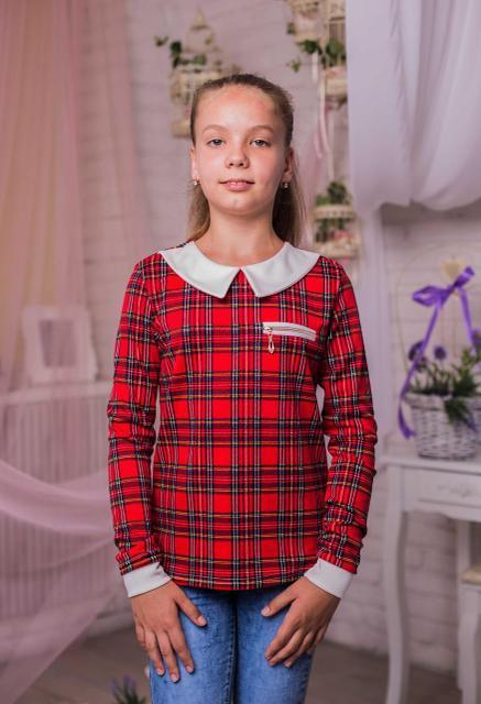 dca6012bdfb Красивая трикотажная кофта для девочки в клеточку красная 128-146 ...