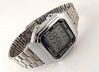 Электронные часы в стиле CASIO - мультифункциональные, серебристые, стальной браслет