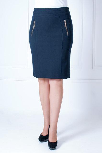 Модная женская  юбка-карандаш из габардина тёмно-синяя 42-52