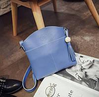 Синяя женская сумка через плечо с кисточкой