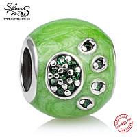"""Серебряная подвеска-шарм Пандора (Pandora) """"Я люблю животных. Зеленый"""" для браслета"""