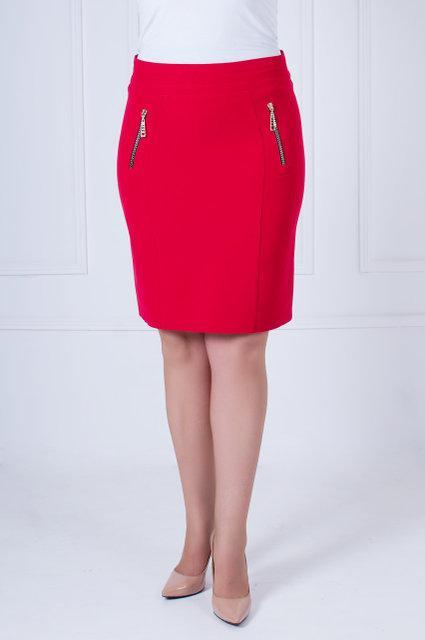 Красивая женская  юбка-карандаш по колено красного цвета с 42 по 52 размер