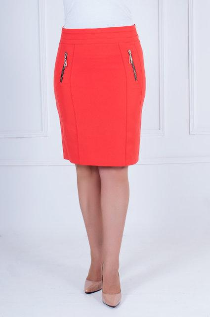 Молодёжная  юбка-карандаш кораллового цвета  с 42 по 52 размер