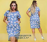 Голубое льняное платье Гибискус