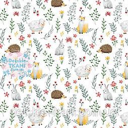 """Дитяча х/б тканина """"Зайчики, овечки, лисички і гілочки"""" (оптом)."""