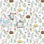 """Детская х/б ткань """"Зайчики, овечки, лисички и веточки"""" (оптом)., фото 2"""